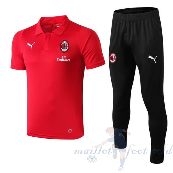 Pas Cher Maillot Foot PUMA Ensemble Polo AC Milan 2018 2019 Rouge