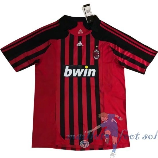Pas Cher Maillot Foot Adidas DomiChili Maillot AC Milan Vintage 2007 2008 Rouge