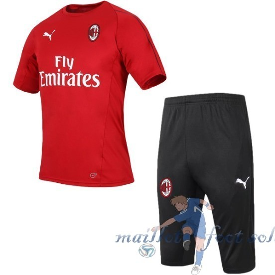 Pas Cher Maillot Foot Puma Entrainement Conjunto Completo AC Milan 2018 2019 Rouge