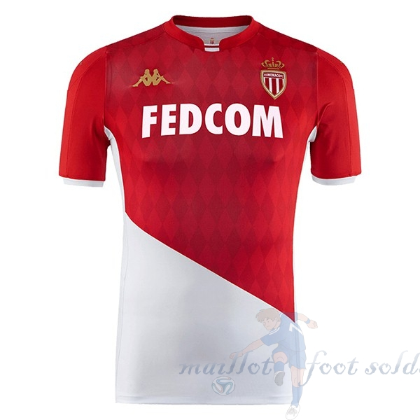 Pas Cher Maillot Foot Kappa Domicile Maillot AS Monaco 2019 2020 Rouge Blanc