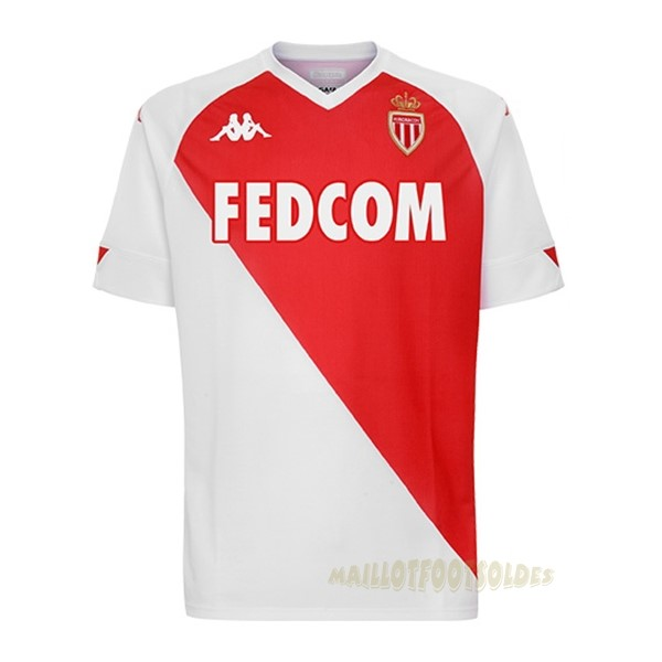 Pas Cher Maillot Foot Kappa Domicile Maillot AS Monaco 2020 2021 Rouge Blanc