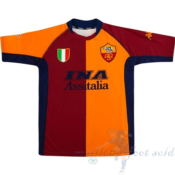 Pas Cher Maillot Foot Kappa Domicile Maillot As Roma Retro 2001 2002 Orange