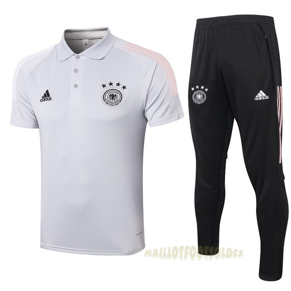 Pas Cher Maillot Foot adidas Ensemble Complet Polo Allemagne 2020 Gris