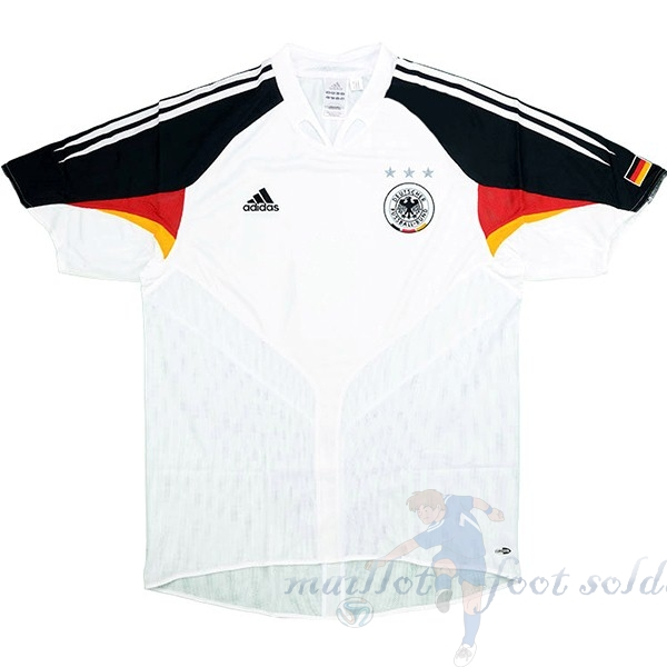 Pas Cher Maillot Foot adidas Domicile Maillot Allemagne Retro 2004 Blanc