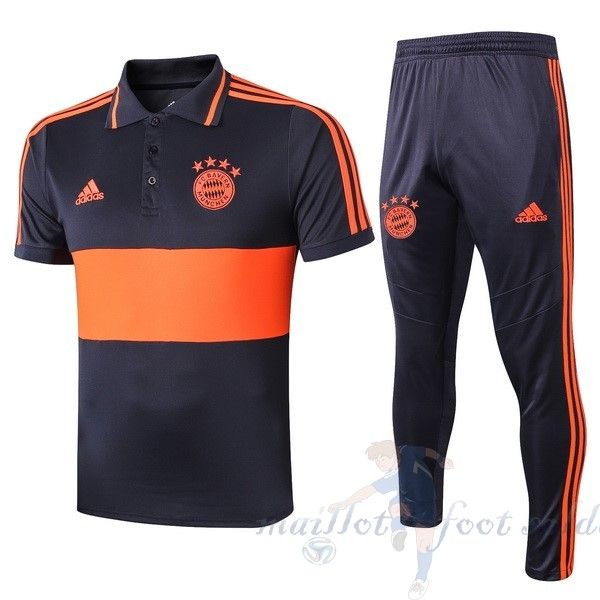 Pas Cher Maillot Foot adidas Ensemble Polo Bayern Munich 2019 2020 Orange Bleu