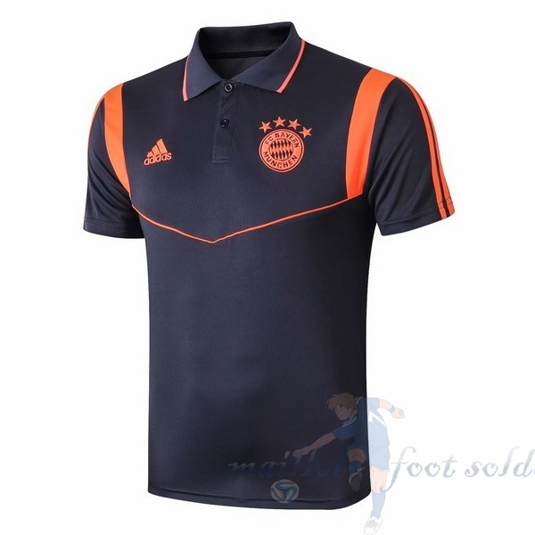 Pas Cher Maillot Foot adidas Polo Bayern Munich 2019 2020 Bleu Orange