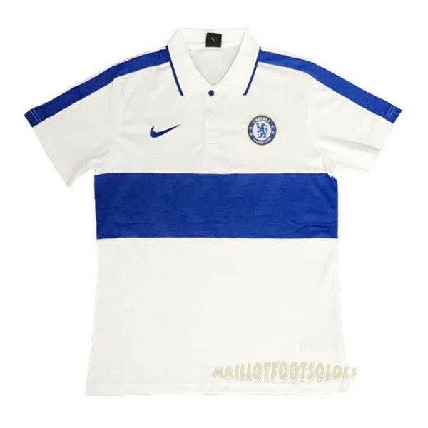 Pas Cher Maillot Foot Nike Polo Chelsea 2020 2021 Bleu Blanc