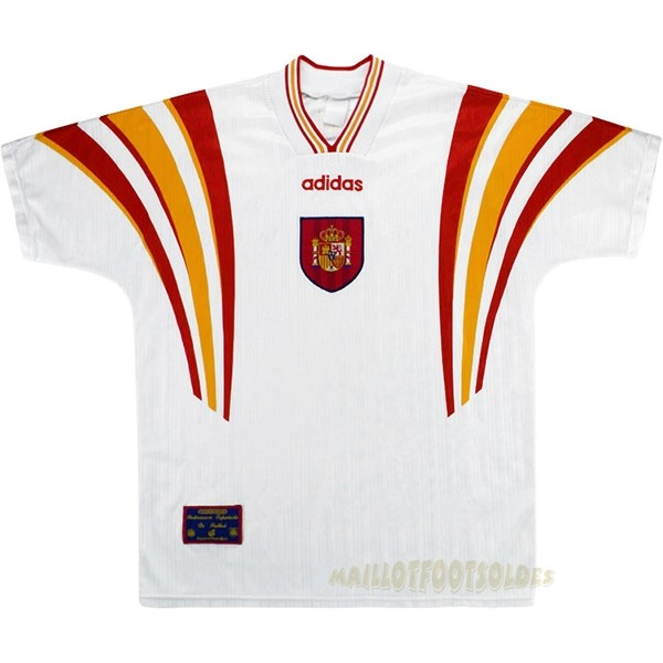 Pas Cher Maillot Foot adidas Third Maillot Espagne Rétro 1996 Blanc