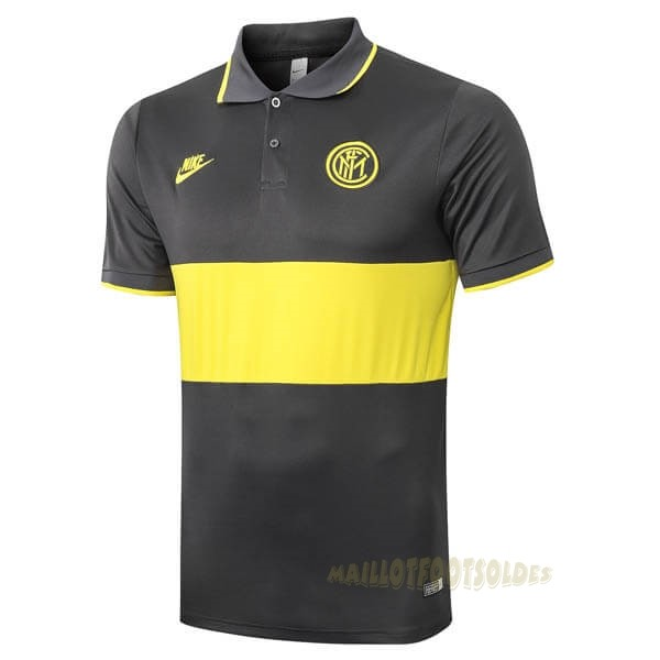 Pas Cher Maillot Foot Nike Polo Inter Milán 2019 2020 Jaune Gris