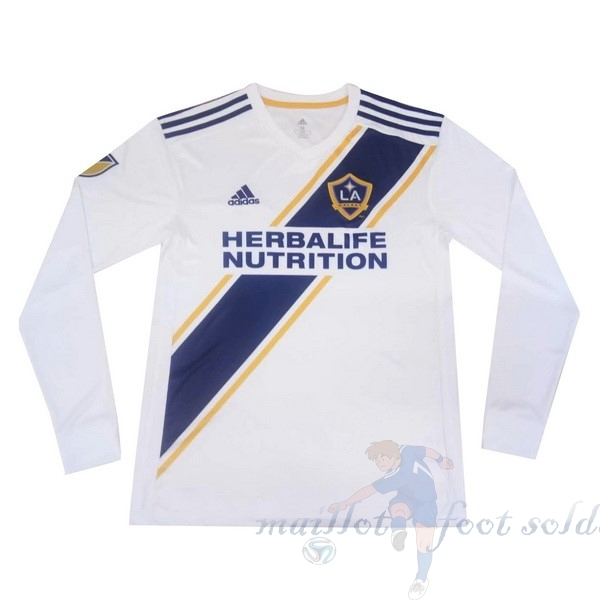 Pas Cher Maillot Foot adidas Domicile Manches Longues Los Angeles Galaxy 2019 2020 Blanc
