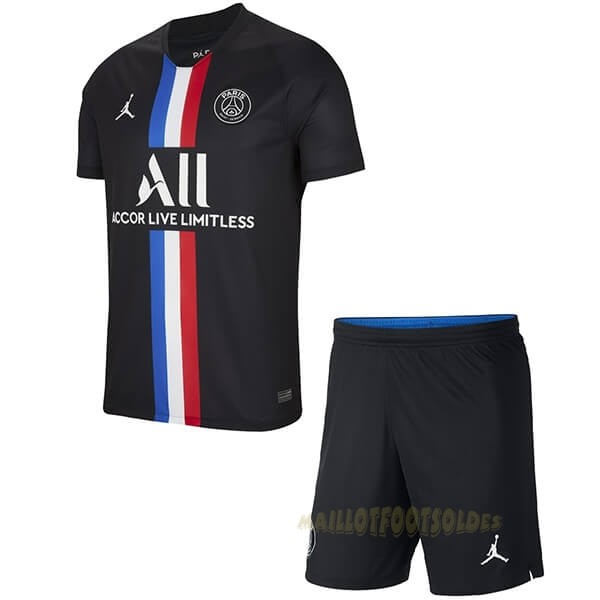 Pas Cher Maillot Foot JORDAN Third Ensemble Enfant Paris Saint Germain 2019 2020 Noir