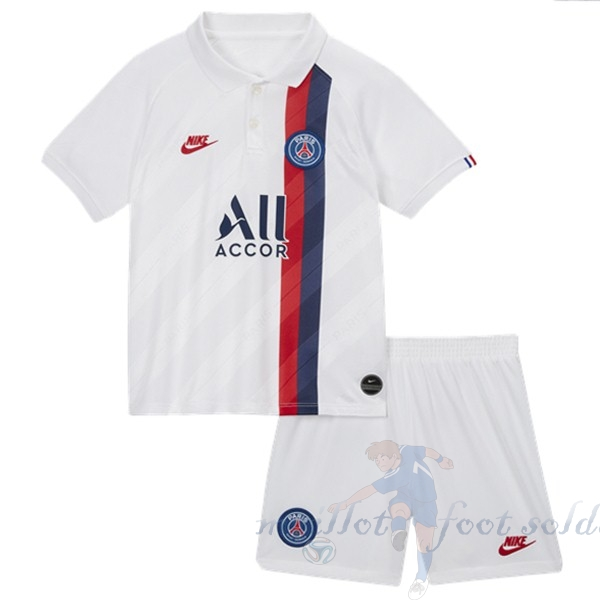 Pas Cher Maillot Foot Nike Third Ensemble Enfant Paris Saint Germain 2019 2020 Blanc