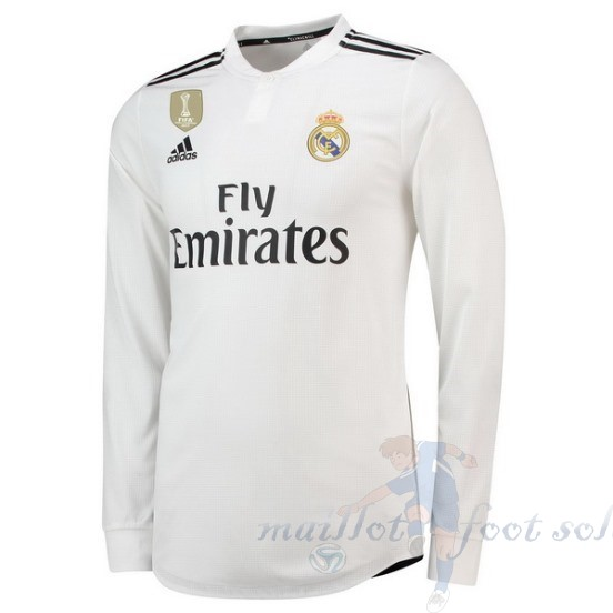 Pas Cher Maillot Foot Adidas Domicile Manches Longues Real Madrid 2018 2019 Blanc