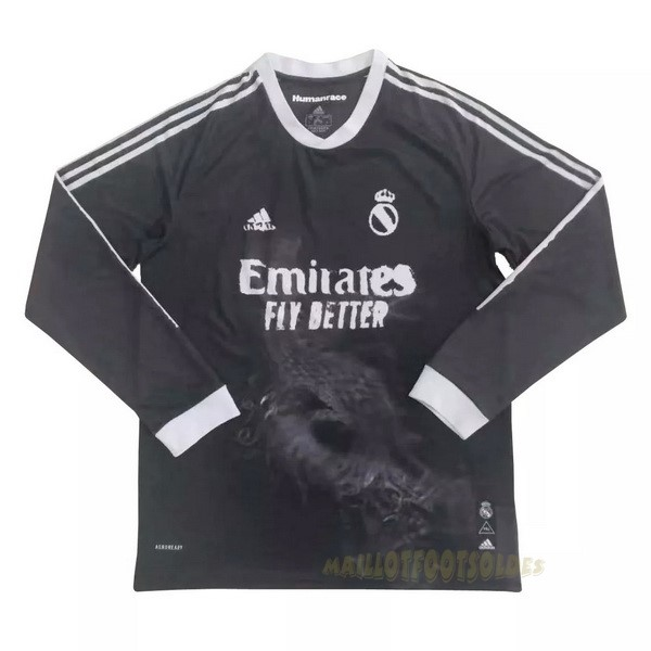 Pas Cher Maillot Foot adidas Human Race Manches Longues Real Madrid 2020 2021 Noir
