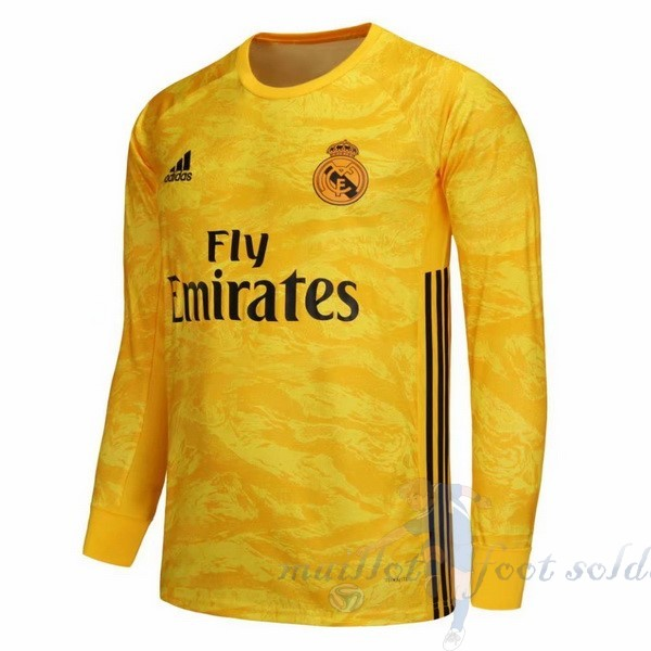 Pas Cher Maillot Foot Adidas Domicile Manches Longues Gardien Real Madrid 2019 2020 Amarillo