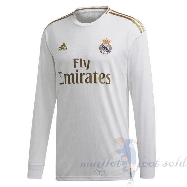 Pas Cher Maillot Foot adidas Domicile Manches Longues Real Madrid 2019 2020 Blanc