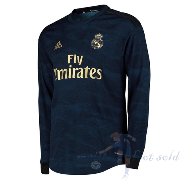Pas Cher Maillot Foot adidas Exterieur Manches Longues Real Madrid 2019 2020 Bleu